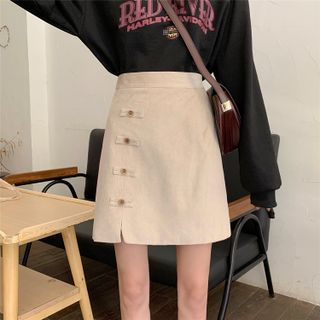 Image of Bow-Accent Corduroy Skirt