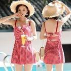 Set: Gingham Swim Dress + Swim Shorts 1596