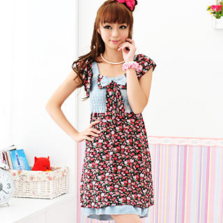"""Buy 59 Seconds Denim Panel """"Bow"""" Floral Dress Black and Red – One Size 1022871972"""