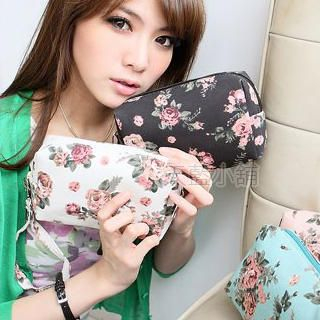Buy SkyBlue Floral Print Canvas Cosmetic Bag 1022905883