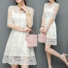 Lace Elbow-Sleeve Dress 1596