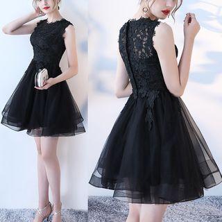 Wonhi Lace Panel Sleeveless A-Line Cocktail Dress
