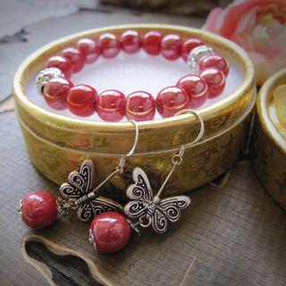 Image of Butterfly & Ceramic Bead Bracelet