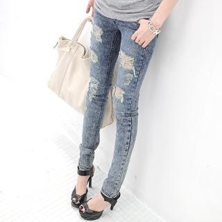 Picture of AKA Distressed Skinny Jeans 1022397139 (Womens Skinny Pants, AKA Pants, South Korea Pants)