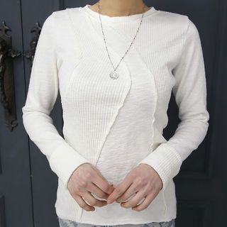 Round-Neck Paneled Ribbed Top 1064618451