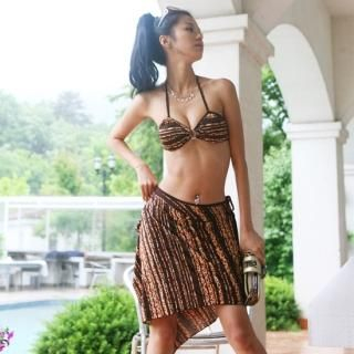 Picture of Alicegohomea Set: Striped Bikini + Wrap Skirt 1022877650 (Alicegohomea Apparel, Womens Swimwear, South Korea Apparel, South Korea Swimwear)