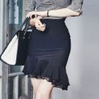 Ruffle Hem Pencil Skirt 1596
