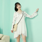 Embroidered Cutout-Back Bell-Sleeve Dress 1596