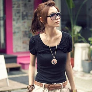 Buy PUFFY Short-Sleeve Lace Panel Top Black – One size 1022907337
