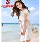Off-Shoulder Short-Sleeve Knit Dress 1596