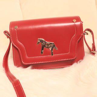 Faux-Leather Flap Crossbody Bag