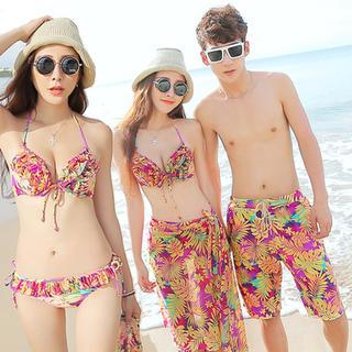 Couple Set: Ruffle Print Bikini + Cover-Up / Swim Shorts 1038161298
