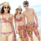 Couple Set: Ruffle Print Bikini + Cover-Up / Swim Shorts 1596