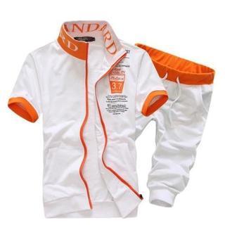 Set: Short-Sleeve Color-Block Zip Jacket + Cropped Sweatpants 1036087527