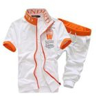 Set: Short-Sleeve Color-Block Zip Jacket + Cropped Sweatpants 1596