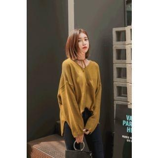 Drop-Shoulder Tie-Back Knit Top 1062196360