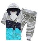 Set: Short-Sleeve Color-Block Hooded Jacket + Cropped Sweatpants 1596