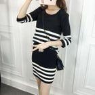 Set: Striped Sweater + Mini Knit Skirt 1596