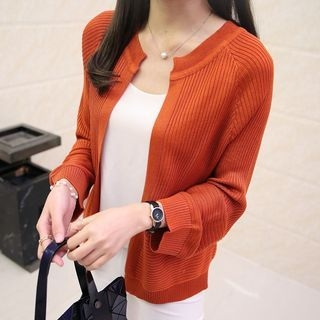 Plain Ribbed Cardigan 1060215076