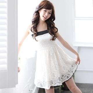 Buy NamuDDalgi Set: Strapless Lace Dress + Rosette Belt 1022850115