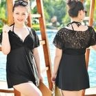 Set: Panel Short-Sleeve Swimdress Set + Swim Bottom 1596