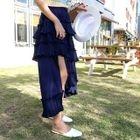 Band-Waist Tiered Long Skirt 1596