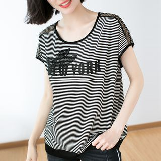 Image of Lace Panel Lettering Striped Short-Sleeve T-Shirt