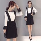 Set: Two-Tone Bell-Sleeve Blouse + Pinafore Dress 1596