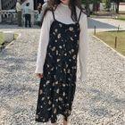 Set: Plain Long-Sleeve T-Shirt + Floral Print Strappy Dress 1596