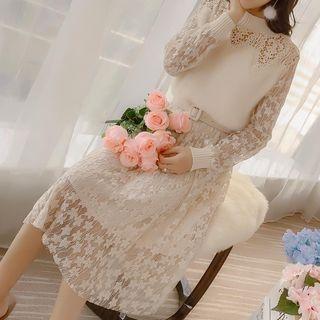 Image of Long-Sleeve Faux Fur Panel Lace Dress