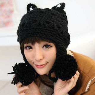 Cat-Ear Pompom Beanie Black - One Size