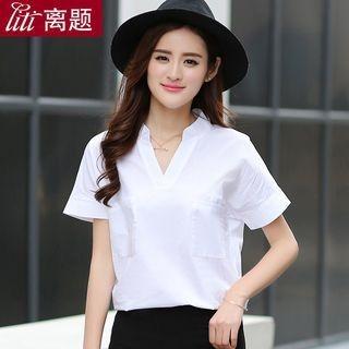 Short-Sleeve V-Neck Blouse 1058046898