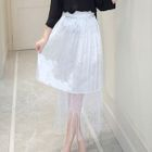 Mesh Panel Chiffon Skirt 1596