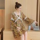 Maternity Long-Sleeve Floral A-line Dress 1596