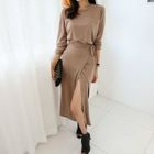 Long-Sleeve Maxi Wrap Dress 1596