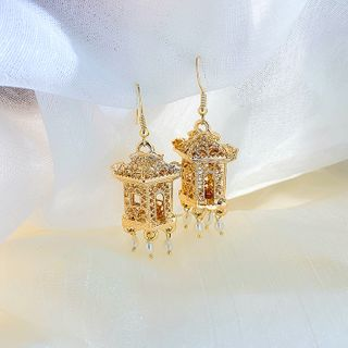 Image of Faux Pearl Alloy Dangle Earring 1 Pair - Gold - One Size