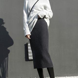 Ribbed Midi Skirt 1057743166