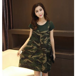 Set: Plain Short Sleeve T-Shirt + Camo Pinafore Dress 1050722948