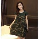 Set: Plain Short Sleeve T-Shirt + Camo Pinafore Dress 1596