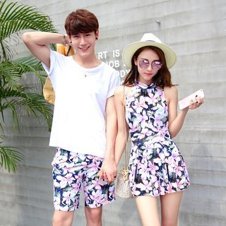 Couple Matching Set : Floral Print Halter Swimdress + Swim Shorts 1058013591