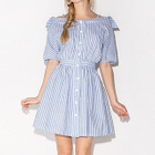 Off-shoulder Pinstriped Short-Sleeve Dress 1596
