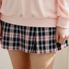Band-Waist Checked Pleated Skirt 1596