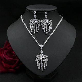 Image of Set: Rhinestone Pendant Necklace + Fringed Earring Set - 1 Pair - Stud Earrings & Necklace - Zircon - White - One Size
