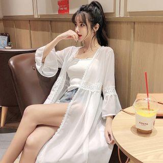 Image of Bell-Sleeve Lace Trim Chiffon Light Jacket White - One Size
