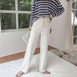 Image of Mid Waist Straight Cut Jeans