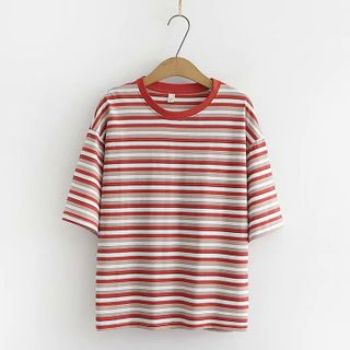 Short-sleeve | T-Shirt | Stripe | Bean | Size | Red | One