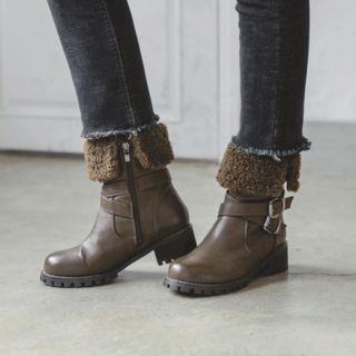 Fleece-Trim Belted Short Boots