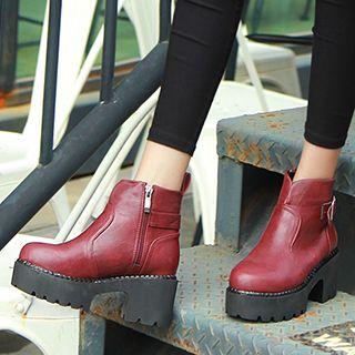 Platform Heel Buckled Ankle Boots