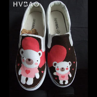 Picture of HVBAO Teddy Bear Love Slip-Ons 1016480512 (Slip-On Shoes, HVBAO Shoes, Taiwan Shoes, Womens Shoes, Womens Slip-On Shoes)