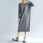 Long-Sleeve Ribbed Knit Dress 1596